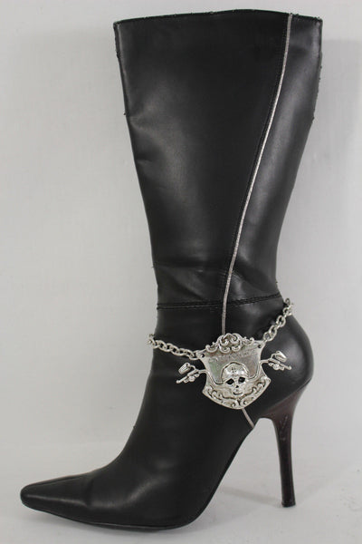 Silver Metal Chain Anklet Shoe Charm Live To Ride Bike Skull Boot Bracelet New Women Accessories