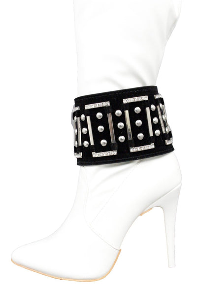 Black Wide Strap Boot Bracelet Silver Metal Chain Anklet Shoe Bling Charm New Women Fashion