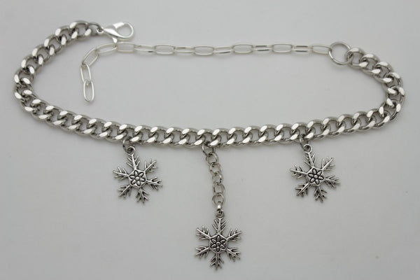 Boot Bracelet Silver Metal Chain Shoe Bling Snow Flakes Charm Christmas New Women Accessories