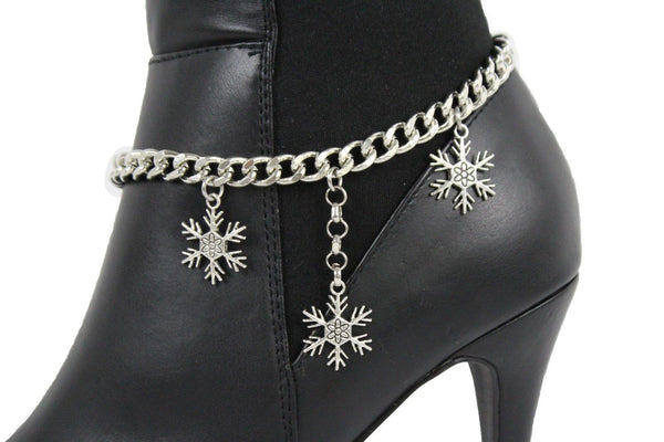 Boot Bracelet Silver Metal Chain Shoe Bling Snow Flakes Charm Christmas New Women Fashion Accessories
