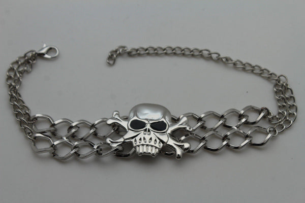 Silver Metal Boot Bracelet  Chains Skull Skeleton Bling Anklet Charm Heels New Women Biker Style - alwaystyle4you - 6