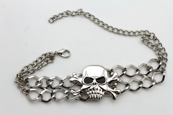 Silver Metal Boot Bracelet  Chains Skull Skeleton Bling Anklet Charm Heels New Women Biker Style - alwaystyle4you - 10
