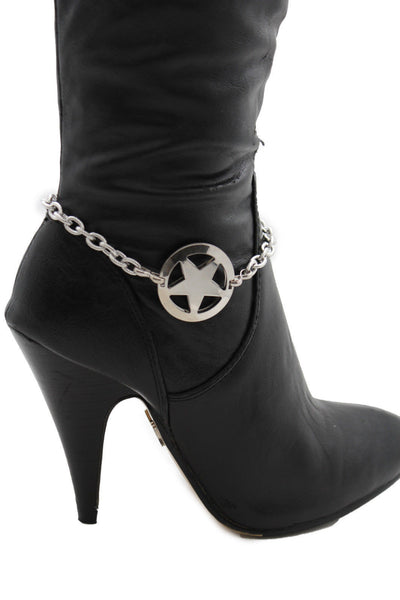 Gold / Silver Metal Boot Bracelet Chains Links Texas Star New Women Fashion Bling Jewelry Rodeo Style - alwaystyle4you - 18