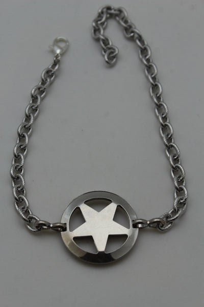 Gold / Silver Metal Boot Bracelet Chains Links Texas Star New Women Fashion Bling Jewelry Rodeo Style - alwaystyle4you - 22