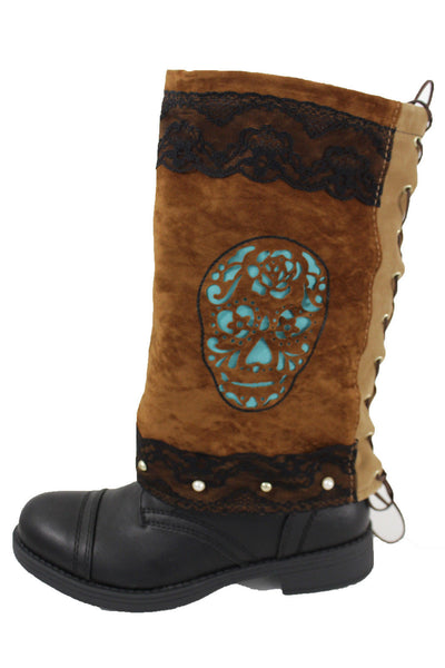 Brown Leather Slip On Western Sugar Turquoise Skulls Pair Boots Cover Toppers Women Accessories