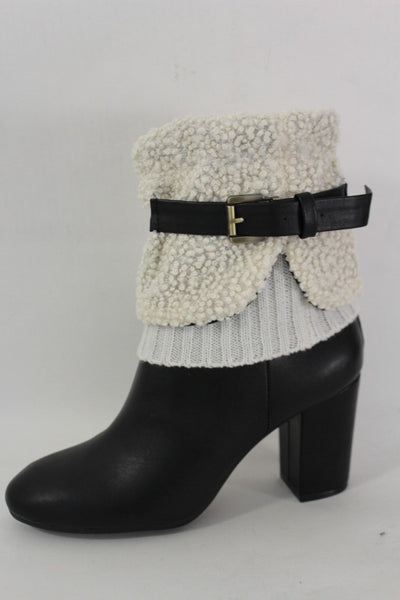 White Black Gray Pair Boots Cover Toppers Fabric Slip On Booties Warmer Knit