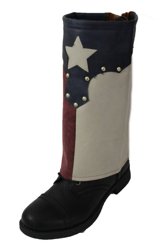 Brown Faux Leather Slip On Western Texas Star Flag Pair Boots Cover Toppers New Women Accessories