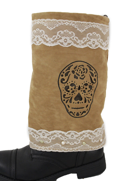 Brown Beige Faux Leather Slip On Western Sugar Skulls Boots Cover Toppers New Women Accessories