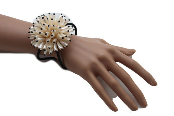 Charm & Black / Cream White / Cream Gold / Cream Pink Elastic Cuff Bracelet Band Big Cream Flower New Women Fashion Jewelry Accessories - alwaystyle4you - 15