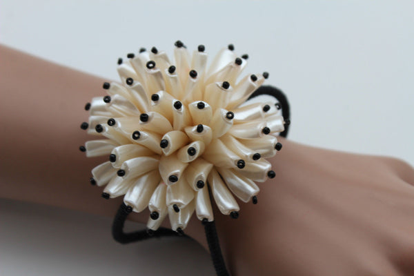Charm & Black / Cream White / Cream Gold / Cream Pink Elastic Cuff Bracelet Band Big Cream Flower New Women Fashion Jewelry Accessories - alwaystyle4you - 6
