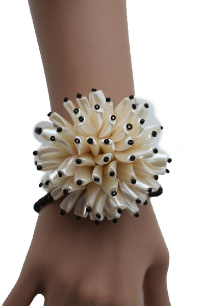 Charm & Black / Cream White / Cream Gold / Cream Pink Elastic Cuff Bracelet Band Big Cream Flower New Women Fashion Jewelry Accessories - alwaystyle4you - 8