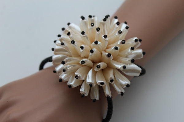 Charm & Black / Cream White / Cream Gold / Cream Pink Elastic Cuff Bracelet Band Big Cream Flower New Women Fashion Jewelry Accessories - alwaystyle4you - 1