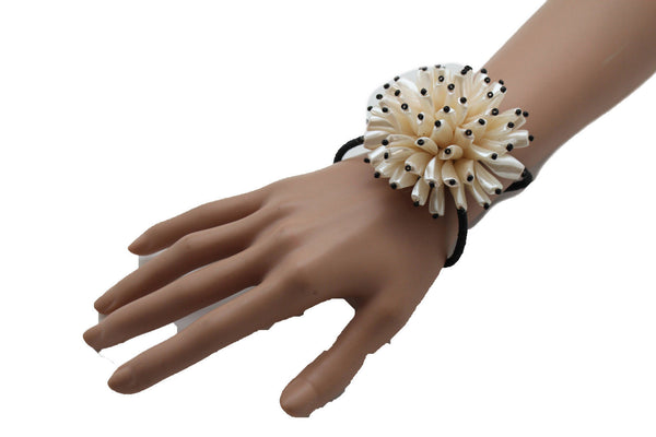 Charm & Black / Cream White / Cream Gold / Cream Pink Elastic Cuff Bracelet Band Big Cream Flower New Women Fashion Jewelry Accessories - alwaystyle4you - 10