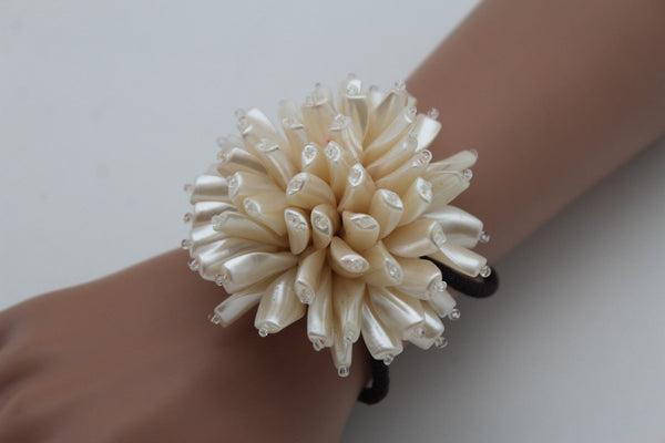 Charm & Black / Cream White / Cream Gold / Cream Pink Elastic Cuff Bracelet Band Big Cream Flower New Women Fashion Jewelry Accessories - alwaystyle4you - 16