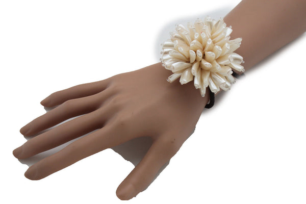 Charm & Black / Cream White / Cream Gold / Cream Pink Elastic Cuff Bracelet Band Big Cream Flower New Women Fashion Jewelry Accessories - alwaystyle4you - 4