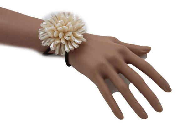 Charm & Black / Cream White / Cream Gold / Cream Pink Elastic Cuff Bracelet Band Big Cream Flower New Women Fashion Jewelry Accessories - alwaystyle4you - 37