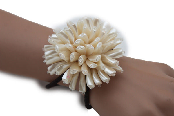 Charm & Black / Cream White / Cream Gold / Cream Pink Elastic Cuff Bracelet Band Big Cream Flower New Women Fashion Jewelry Accessories - alwaystyle4you - 39