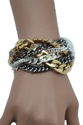 Gold Metal Wide Bracelet Retro Style Silver Pewter Gunmetal Chains Links New Women Fashion Jewelry Accessories - alwaystyle4you - 1