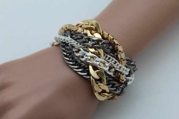 Gold Metal Wide Bracelet Retro Style Silver Pewter Gunmetal Chains Links New Women Fashion Jewelry Accessories - alwaystyle4you - 8