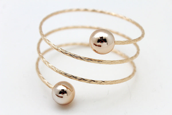 Gold / Silver Metal Cuff Bracelet Bangle Ball String Spring Adjustable New Women Fashion Jewelry Accessories - alwaystyle4you - 5
