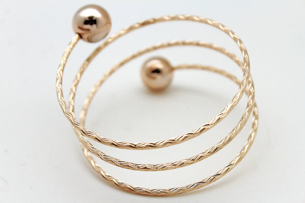 Gold / Silver Metal Cuff Bracelet Bangle Ball String Spring Adjustable New Women Fashion Jewelry Accessories - alwaystyle4you - 10