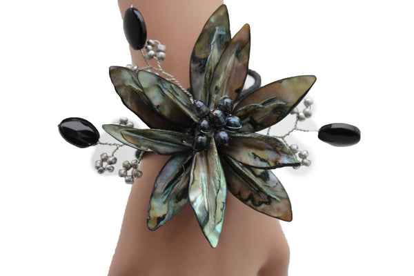 Grey Black Beads Flower Elastic Cuff Bracelet Band New Women Unique Fashion Jewelry Accessories - alwaystyle4you - 1