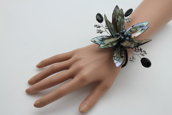 Grey Black Beads Flower Elastic Cuff Bracelet Band New Women Unique Fashion Jewelry Accessories - alwaystyle4you - 6