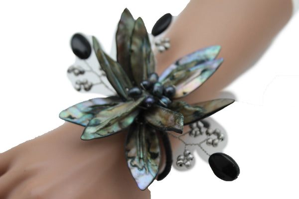 Grey Black Beads Flower Elastic Cuff Bracelet Band New Women Unique Fashion Jewelry Accessories - alwaystyle4you - 7