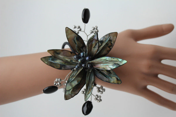Grey Black Beads Flower Elastic Cuff Bracelet Band New Women Unique Fashion Jewelry Accessories - alwaystyle4you - 10