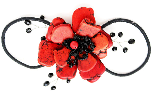 Baby Blue / Pink / Red / White /  + Black Bead Flower Charm Elastic Cuff Bracelet Band New Women Fashion Jewelry Accessories - alwaystyle4you - 19