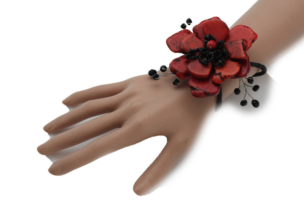 Baby Blue / Pink / Red / White /  + Black Bead Flower Charm Elastic Cuff Bracelet Band New Women Fashion Jewelry Accessories - alwaystyle4you - 20