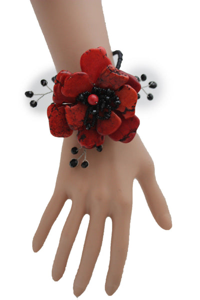 Baby Blue / Pink / Red / White /  + Black Bead Flower Charm Elastic Cuff Bracelet Band New Women Fashion Jewelry Accessories - alwaystyle4you - 21