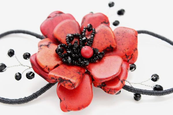 Baby Blue / Pink / Red / White /  + Black Bead Flower Charm Elastic Cuff Bracelet Band New Women Fashion Jewelry Accessories - alwaystyle4you - 22