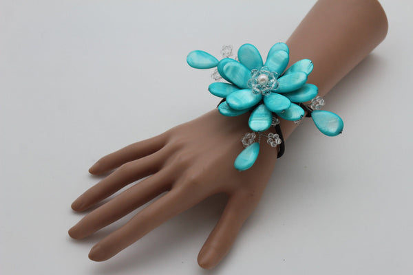 Blue Turquoise / Red / White / White + Black Beads Bracelet Cuff Elastic Band Big Flower Charm New Women Fashion Jewelry Accessories - alwaystyle4you - 26
