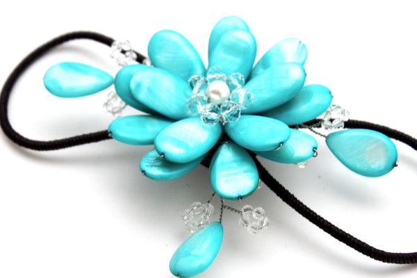 Blue Turquoise / Red / White / White + Black Beads Bracelet Cuff Elastic Band Big Flower Charm New Women Fashion Jewelry Accessories - alwaystyle4you - 28