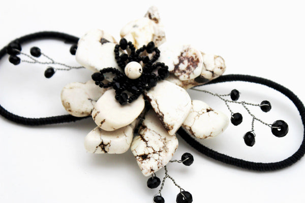 Baby Blue / Pink / Red / White /  + Black Bead Flower Charm Elastic Cuff Bracelet Band New Women Fashion Jewelry Accessories - alwaystyle4you - 32