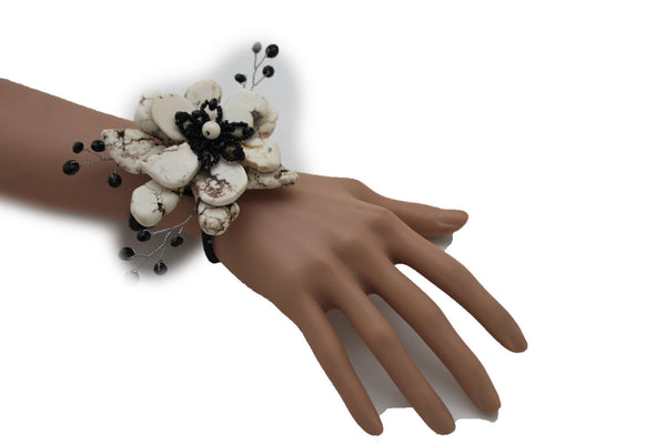 Baby Blue / Pink / Red / White /  + Black Bead Flower Charm Elastic Cuff Bracelet Band New Women Fashion Jewelry Accessories - alwaystyle4you - 33