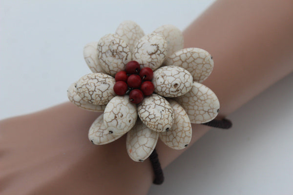 Baby Blue / White + Red / Red + White Cuff Band Bracelet Beads Flower Charm Elastic New Women Fashion Jewelry Accessories - alwaystyle4you - 12