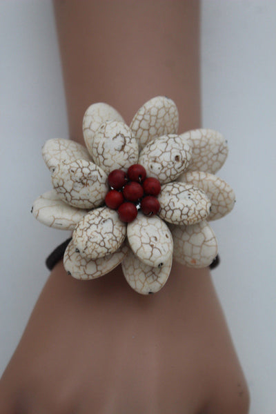 Baby Blue / White + Red / Red + White Cuff Band Bracelet Beads Flower Charm Elastic New Women Fashion Jewelry Accessories - alwaystyle4you - 2