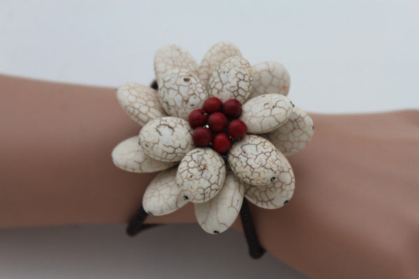 Baby Blue / White + Red / Red + White Cuff Band Bracelet Beads Flower Charm Elastic New Women Fashion Jewelry Accessories - alwaystyle4you - 18