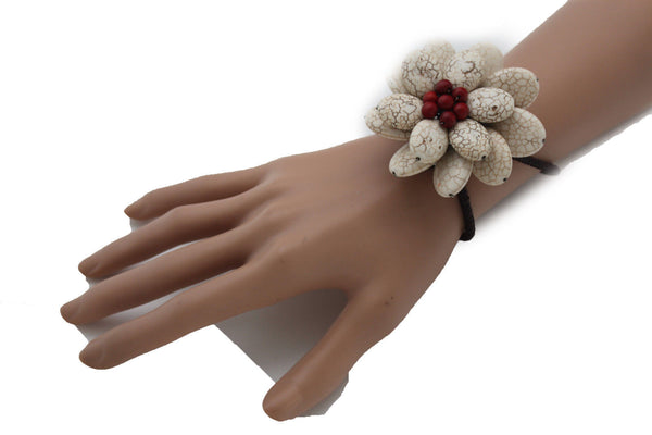 Baby Blue / White + Red / Red + White Cuff Band Bracelet Beads Flower Charm Elastic New Women Fashion Jewelry Accessories - alwaystyle4you - 19