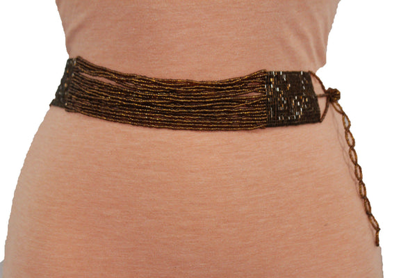 Brown Bronze Multi Rhinestones Beads High Waist Hip Belt Side Drop New Women Fashion Accessories Plus Size M L XL - alwaystyle4you - 3