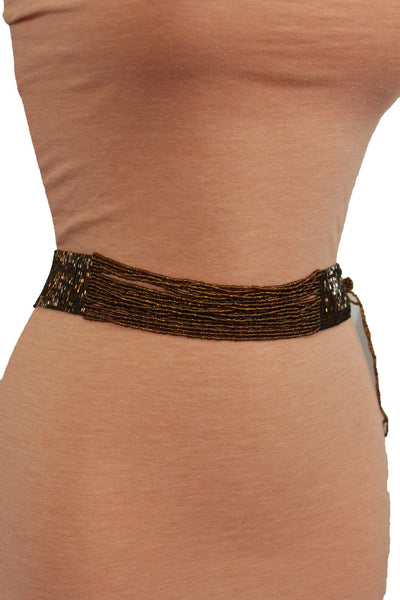 Brown Bronze Multi Rhinestones Beads High Waist Hip Belt Side Drop New Women Fashion Accessories Plus Size M L XL - alwaystyle4you - 9