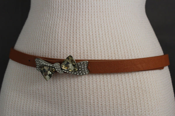 Black Pink Teal Blue Brown Narrow Skinny Faux Leather Hip High Waist Belt Silver Bow Tie Beads Multi Rhinestones Buckle New Women Fashion S M - alwaystyle4you - 45