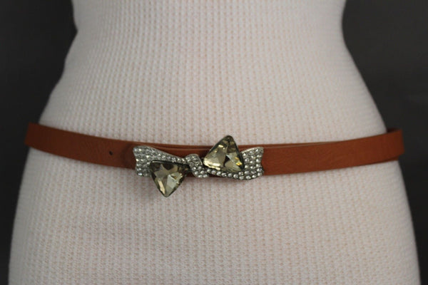 Black Pink Teal Blue Brown Narrow Skinny Faux Leather Hip High Waist Belt Silver Bow Tie Beads Multi Rhinestones Buckle New Women Fashion S M - alwaystyle4you - 40