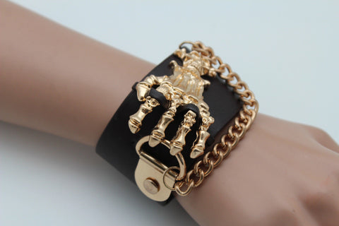 Dark Brown / Black Faux Leather Bracelet Gold / Silver Metal Chains Skeleton Skulls Hand New Women Fashion Jewelry Accessories - alwaystyle4you - 1