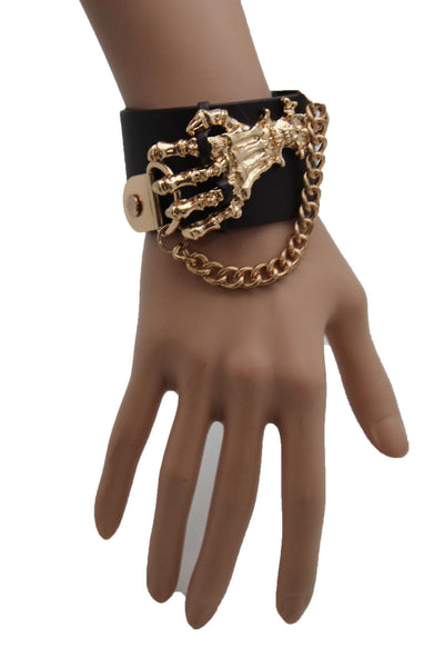 Dark Brown / Black Faux Leather Bracelet Gold / Silver Metal Chains Skeleton Skulls Hand New Women Fashion Jewelry Accessories - alwaystyle4you - 5