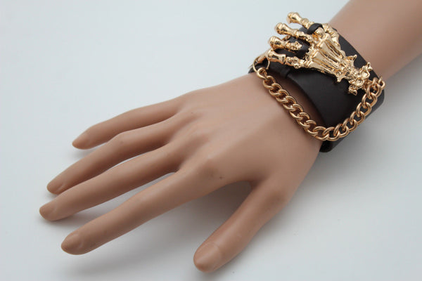 Dark Brown / Black Faux Leather Bracelet Gold / Silver Metal Chains Skeleton Skulls Hand New Women Fashion Jewelry Accessories - alwaystyle4you - 7