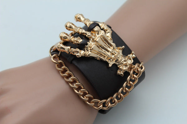 Dark Brown / Black Faux Leather Bracelet Gold / Silver Metal Chains Skeleton Skulls Hand New Women Fashion Jewelry Accessories - alwaystyle4you - 9