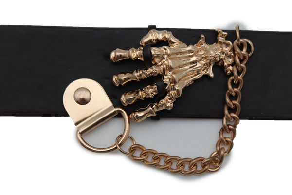Dark Brown / Black Faux Leather Bracelet Gold / Silver Metal Chains Skeleton Skulls Hand New Women Fashion Jewelry Accessories - alwaystyle4you - 12